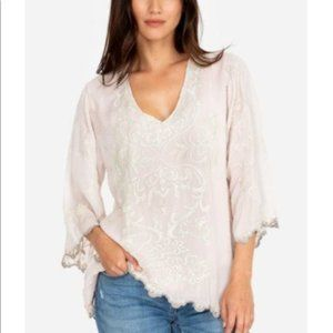 Johnny Was Zumac Top Embroidered Scalloped Hem XS